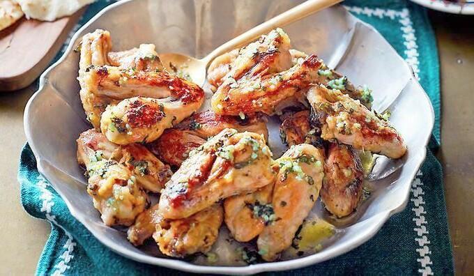 Ailes de poulet à la coriandre et au gingembre, riz au thym
