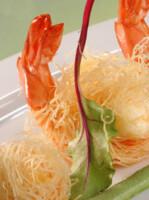 Crevettes Kadaïf, pousses d'épinards