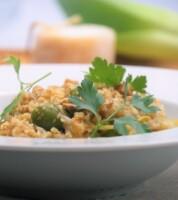 Risotto poireaux, brebis, olives