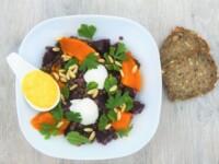 Lentilles, courge rôtie et mozzarella