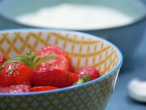 Salade de fraises, verveine