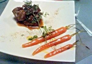 Travers de porc et carottes glacées aux agrumes