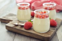Verrine panna cotta de fraises poêlées